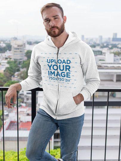 Full-Zip Hoodie Mockup Featuring a Bearded Man Posing on a Balcony 28742
