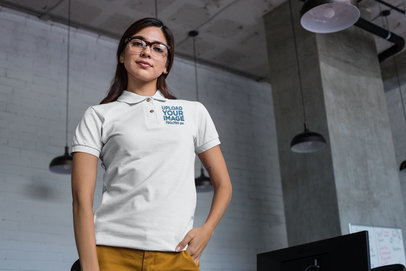 Mockup of a Woman with Glasses Wearing a Polo Shirt 28892