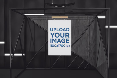 Mockup of an Exhibition Poster Hanging Against a Dark Wall 521-el