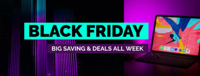Facebook Cover Maker with Neon Lines for Black Friday 1084g - 1784