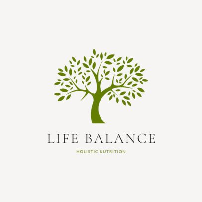 Nutritionist Logo Generator Featuring a Monochromatic Tree Illustration 2536g