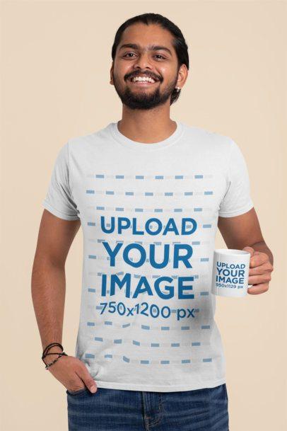 T-Shirt Mockup of a Smiling Man Holding an 11 oz Mug 29114