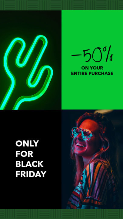 Instagram Story Template for a Black Friday Sale Featuring Neon Colors 967g 1781