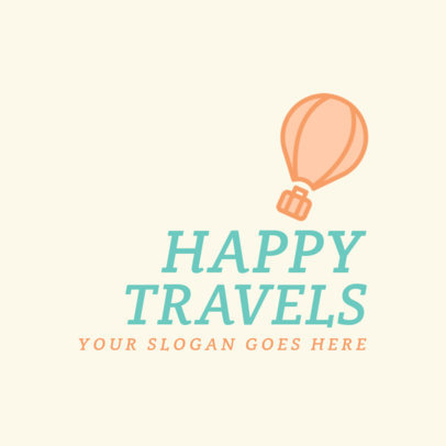 Colorful Logo Template for a Travel Agency with a Hot Air Balloon Graphic 2504e