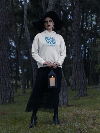 Hoodie Pullover Mockup of a Woman Dressed in a Witch Costume 29326