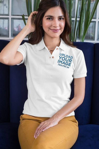 Polo Shirt Mockup of an Elegant Woman Sitting and Fixing Her Hair 28885