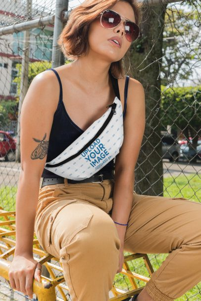 Fanny Pack Mockup of a Woman at a Park 29146
