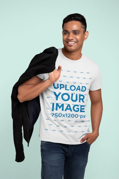 T-Shirt Mockup of a Man Holding a Jacket Over His Shoulder 28952
