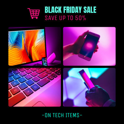 Black Friday Sales Instagram Post Template for Electronic Stores 1588m-1782