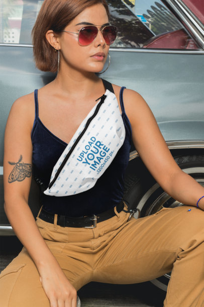Mockup of a Tattooed Woman Wearing a Fanny Pack 29152