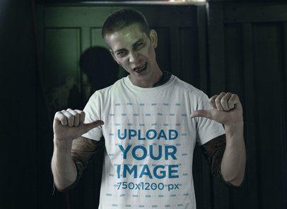 Halloween Mockup of a Zombie Man Wearing a T-Shirt 29339