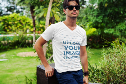 T-Shirt Mockup of a Fashionable Man Posing at a Park 510-el