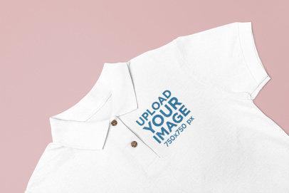 Closeup of a Polo Shirt Mockup on a Plain Surface 28926