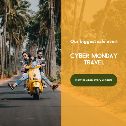 Travel-Themed Ad Banner Maker for a Cyber Monday Coupon Promo 542f-1796