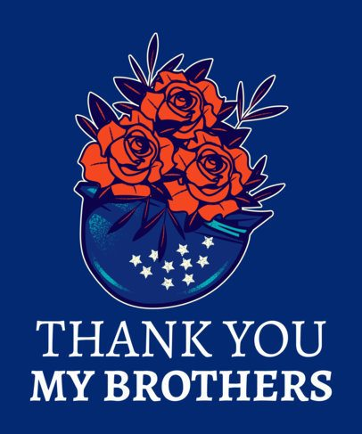 Veterans Day T-Shirt Design Template Featuring Thankful Flowers 1814