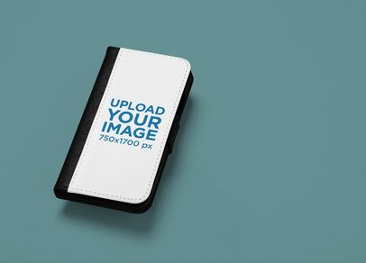 Mockup of an iPhone X Wallet Case Against a Plain Background 29241