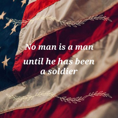 Veterans Day Quote Social Media Post Template Featuring an American Flag 16613f 1801