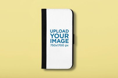 iPhone 7 Plus Wallet Case Mockup on a Customizable Background 29214