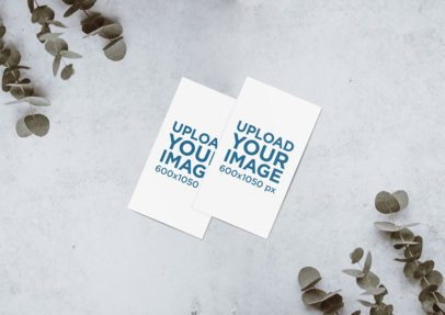 Minimal Mockup Featuring Two Business Cards Lying on a Grey Surface by Some Plants 643-el