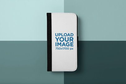 Mockup of an iPhone X Wallet Case Against a Colored Background 29240