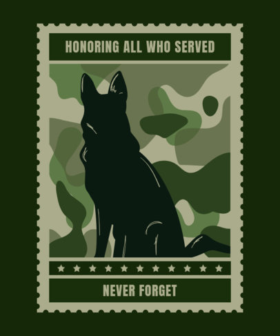 T-Shirt Design Maker for Veterans Day Featuring a Service Dog Illustration 1813a
