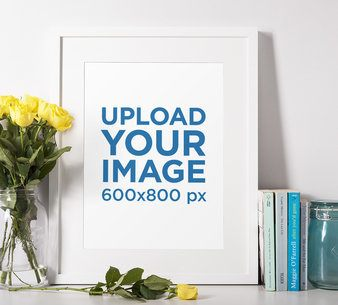 Picture Frame Mockup Featuring a Flower Vase with Yellow Roses 601-el