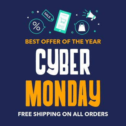 Facebook Post Template for a Cyber Monday Sale 584j-1798