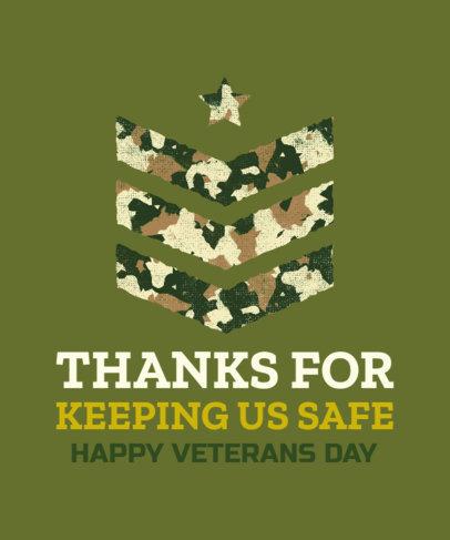 Veterans Day T-Shirt Design Template with an Arrow Stencil Clipart