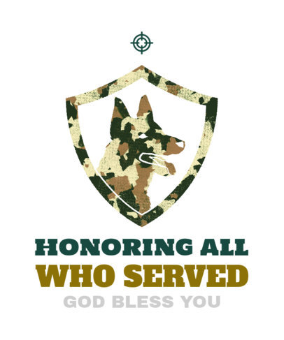 T-Shirt Design Generator for a Veterans Day with a Dog Stencil 1812d