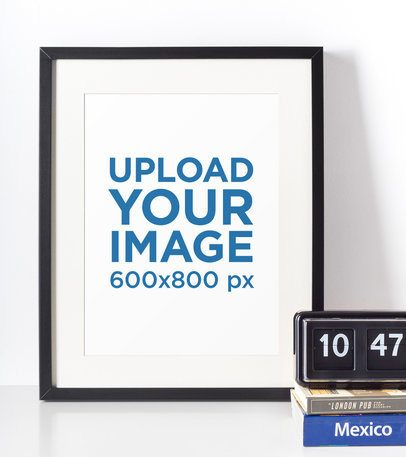 Photo Frame Mockup Featuring a Retro Alarm Clock 604-el
