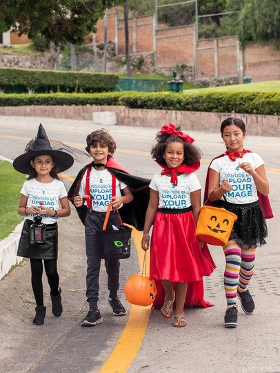 T-Shirt Mockup of Kids Trick-or-Treating on the Street 29298