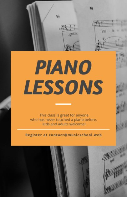 Flyer Template for Music Lessons with Textures Backgrounds 238e--1819