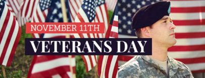 Veterans Day Facebook Cover Maker Featuring a Proud Soldier 1803c