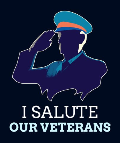 T-Shirt Design Maker for Veterans Day with a Saluting Captain 1814a