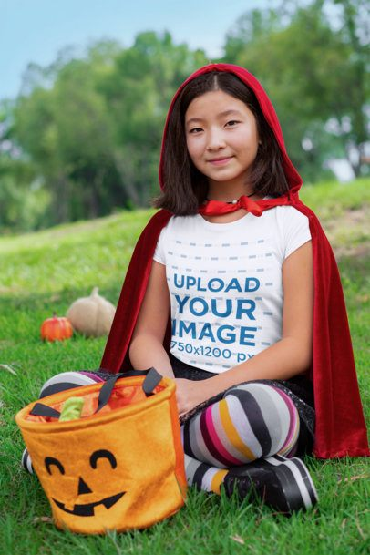 T-Shirt Mockup of a Girl with a Halloween Costume 29284