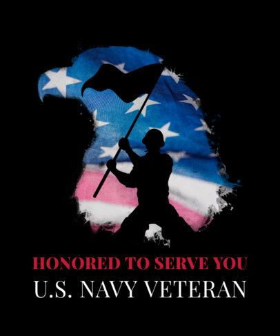 T-Shirt Design Template Honoring Veterans Day with a Soldier Waving a Flag 1815d
