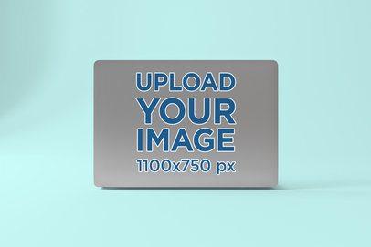 Sticker Mockup Featuring an Open Macbook Pro 678-el