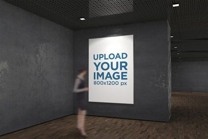 Exhibition Poster Mockup with a Ghosted Viewer 318-el