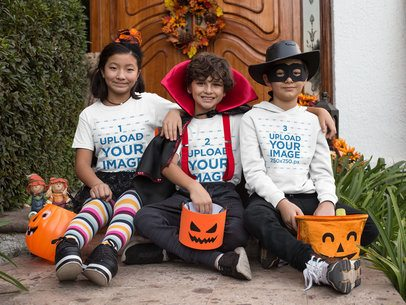 Halloween Mockup of Two Kids with a T-Shirt and One Boy with a Hoodie Pullover 29321
