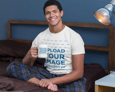 T-Shirt Mockup of a Man Drinking in His 15 oz Mug in Bed 29259