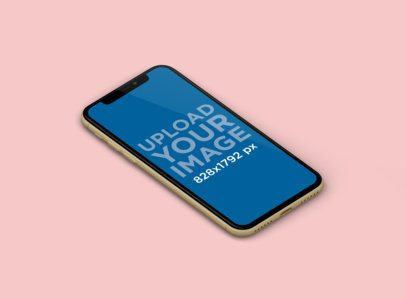 Minimal Mockup Featuring an iPhone 11 Against a Solid Color Backdrop 229-el