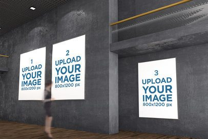 Mockup of Three Exhibition Posters at a Minimalistic Gallery 322-el