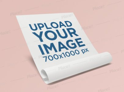 Letterhead Mockup Featuring an Unrolled Foil of Paper 348-el