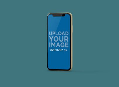 Mockup of an iPhone 11 Floating in Portrait Position at a Customizable Set 234-el