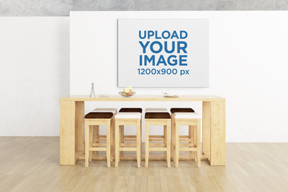 Mockup Featuring an Art Print Hanging Behind a Minimalist Table 327-el