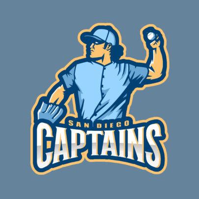 Baseball Logo Template Featuring a Confident Pitcher 172x-2545