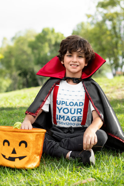 Halloween T-Shirt Mockup of a Boy with a Vampire Costume 29290
