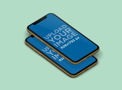 Mockup Featuring Two Overlapping iPhones 11 over a Solid Color Surface 238-el