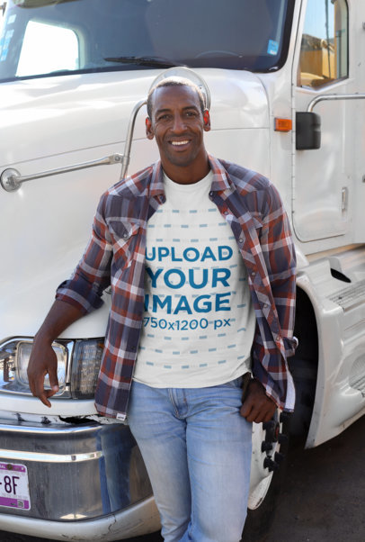 Mockup of a Man with a Crewneck T-Shirt Leaning on a Truck 29466