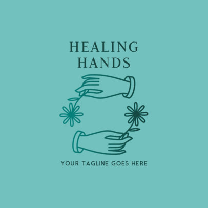 Logo Template for an Holistic Health Center with Delicate Hands Clipart 2578a